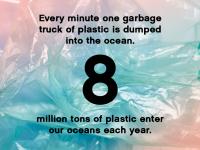 Ogni minuto viene gettato nell'oceano un camion di plastica. Ogni anno vengono gettate nell'oceano 8 milioni di tonnellate di plastica